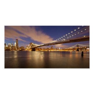 Poster Pont de Brooklyn et Manhattan la nuit