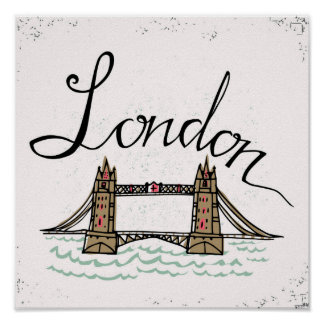 Poster Pont en lettres de Londres de main