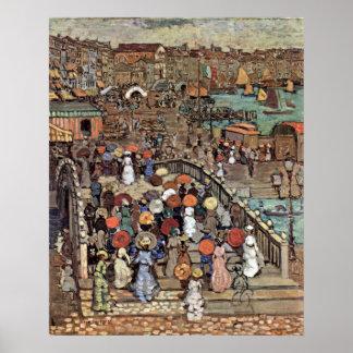 Poster Ponte Della Paglia, Venise par Maurice Prendergast