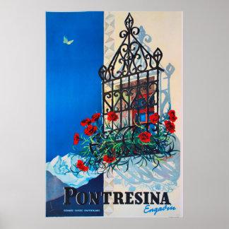 Poster Pontresina, Engadin, Suisse, affiche de ski