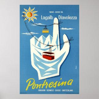 Poster Pontresina, Engadin, Suisse, affiche de voyage