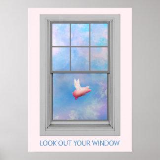 Poster Porc-Regard de vol votre fenêtre
