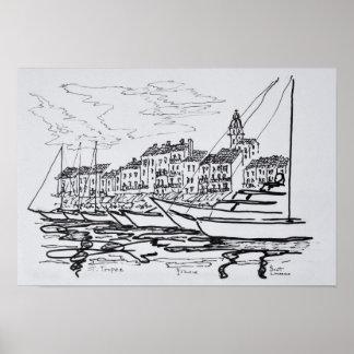 Poster Port   la Côte d'Azur, France de Saint-Tropez