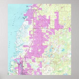 Poster Port Richey et nouveau port Richey la Floride Map