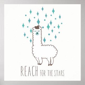 """Poster """"Portée illustration douce de lama pour étoiles"""""""