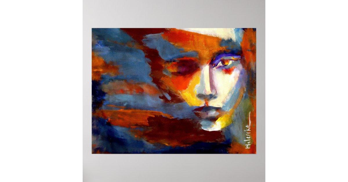 Poster portrait abstrait d 39 une peinture de femme l 39 art - Poster peinture ...