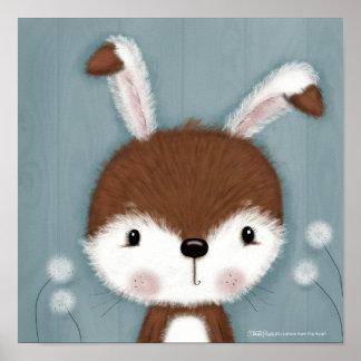 Poster Portrait de lapin de région boisée