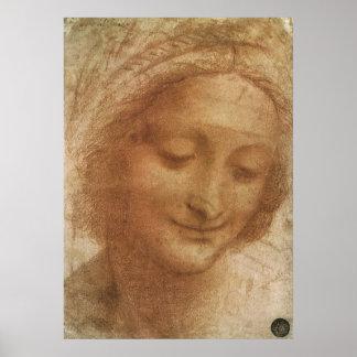 Poster Portrait de saint Anne par Leonardo da Vinci