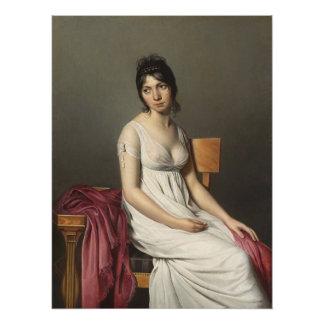 Poster Portrait d'une jeune femme dans le blanc