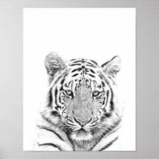 Poster Portrait noir et blanc de tigre