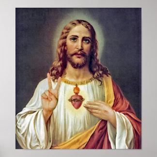 Poster Portrait sacré de signe de paix de coeur de Jésus