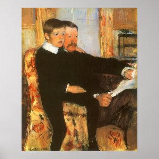 Poster Portrait vintage de père et de fils par Mary