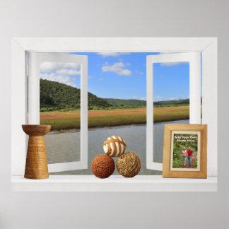 Poster Position africaine de rivière -- Fenêtre ouverte