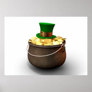 Poster Pot d'or avec le casquette de lutin