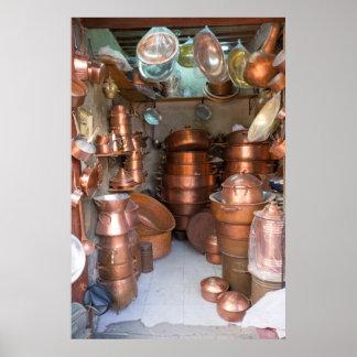 Poster Pots de cuivre au marché