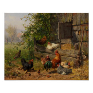 Poster Poulets vintages et décor de mur de pays de coq