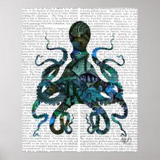 Poster Poulpe bleu de poisson