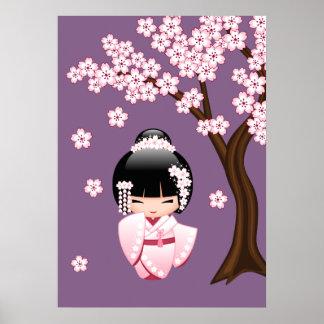Poster Poupée blanche de Kokeshi de kimono - fille de