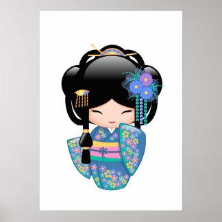 Poster Poupée de Keiko Kokeshi - fille de geisha bleue de