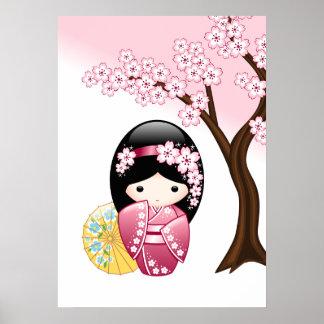 Poster Poupée de Kokeshi de ressort - fille de geisha