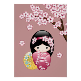 Poster Poupée de Kokeshi de ressort - geisha japonais