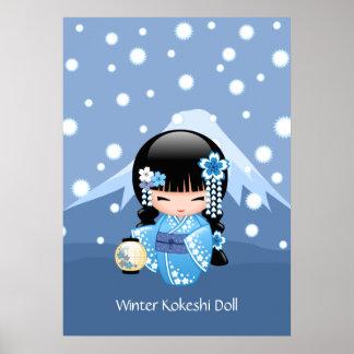 Poster Poupée de Kokeshi d'hiver - fille de geisha bleue