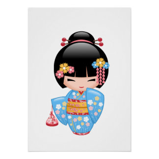 Poster Poupée de Maiko Kokeshi - fille de geisha