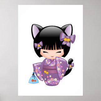 Poster Poupée de Neko Kokeshi - fille de geisha