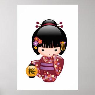 Poster Poupée de Sakura Kokeshi - fille de geisha sur la