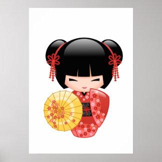 Poster Poupée rouge de Sakura Kokeshi - fille de geisha