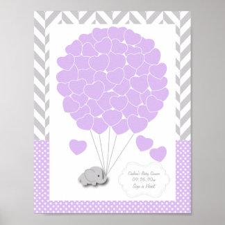 Poster Pourpre, baby shower gris blanc 2 d'éléphant -