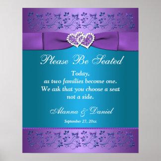Poster Pourpre, coeurs floraux turquoises épousant le