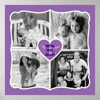 Poster Pourpre de grille de photo de coeur de Valentine