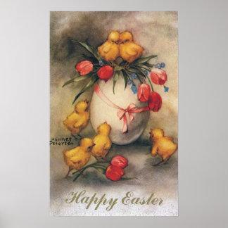 Poster Poussins vintages de Pâques avec les fleurs rouges