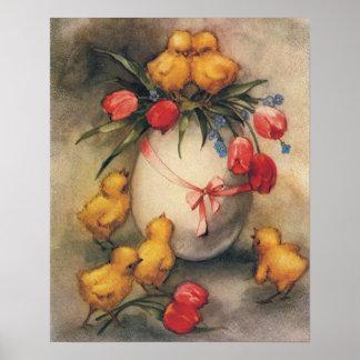 Poster Poussins vintages de Pâques et tulipes