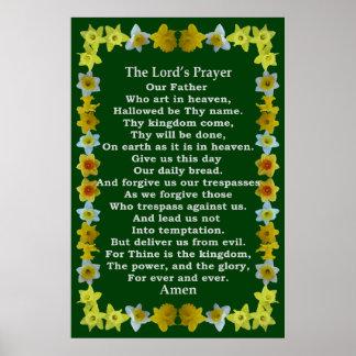 Poster Prayer de seigneur dans un cadre de jonquille