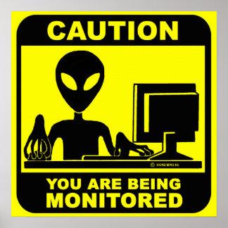Poster Précaution ! vous êtes surveillés