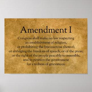 Poster Premier amendement à la constitution des