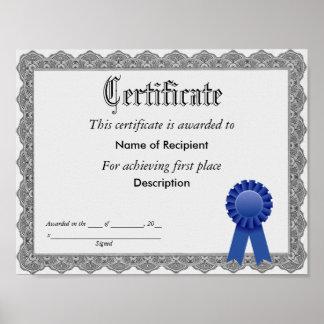 Poster Premier certificat de ruban bleu d'endroit