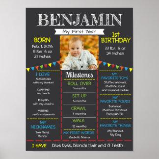 Poster Première photo de l'anniversaire du bébé
