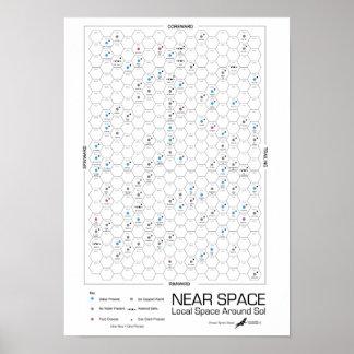 Poster Près de l'Étoile-Carte d'hexagone de l'espace