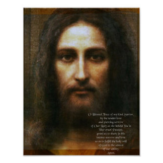 Poster Prière au visage saint de Jésus