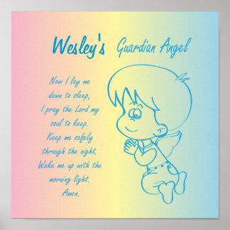 Poster Prière du soir de garçon d'ange gardien
