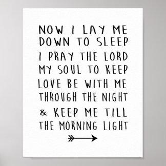 Poster Prière heure du coucher de crèche de l'enfant