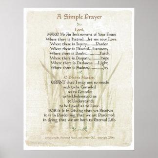 Poster PRIÈRE SIMPLE de POPE= ST FRANCIS pour la PRIÈRE d