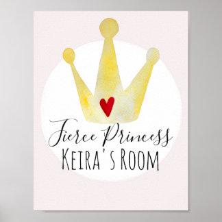 Poster Princesse mignonne de bébé d'aquarelle et crèche