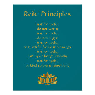 Poster Principes Teal/or Lotus de Reiki