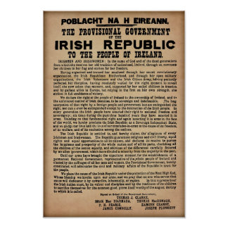 Poster Proclamation 1916 irlandaise (copie originale 19""