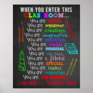 Poster Professeur d'art - quand vous écrivez des règles