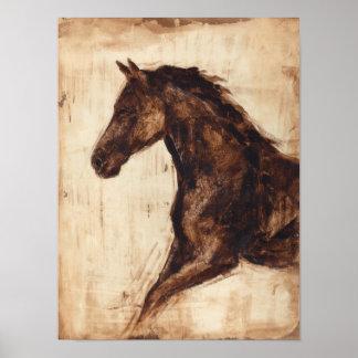 Poster Profil de cheval sauvage de Brown